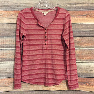 Lukcy brand red white striped henley top
